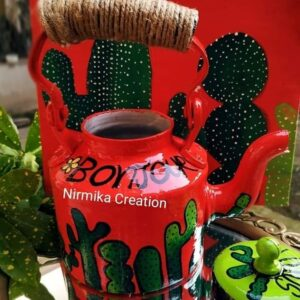 Kettle (Hand Painted -Green Cactus)