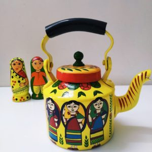 Hand Painted Kettle (Yellow)