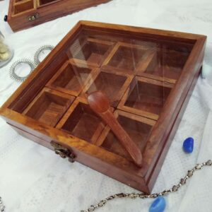 Wooden Spice box – (9 partitions)