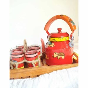 Hand painted Kettle Set ( Red- 9 piece set)